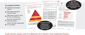To get started, contact your Five Behaviors of a Cohesive Team Authorized Partner