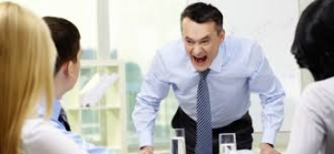 Angry man in the workplace